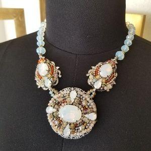 Victorian Beaded Rhinestone Art Vintage Necklace